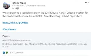 geothermal resources council meeting linkedin kilauea eruption 2018
