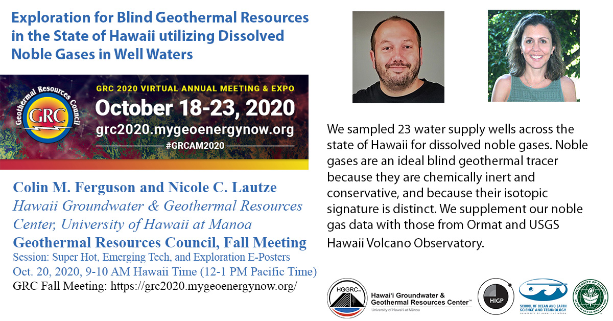 Geothermal Resources Council Conference Colin Ferguson Nicole Lautze Hawaii Play Fairway