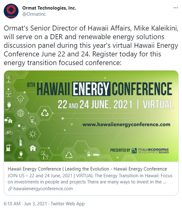 Puna Geothermal Venture PGV Hawaii Energy Conference Twitter