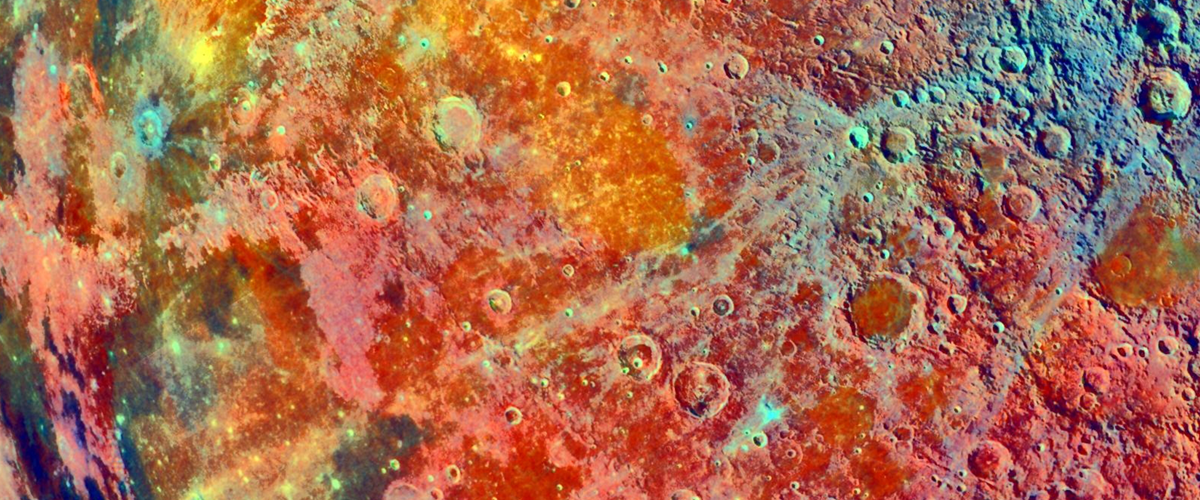 false-color map of the Moon