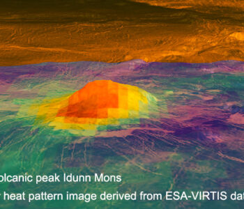 False-color Heat Pattern Image Of A Volcanic Peak On Venus, Derived From ESA-VIRTIS Data. Image Credit: NASA.