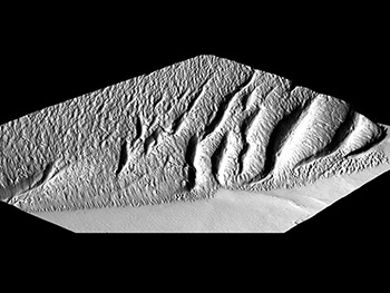 Mars Surface Image Generated By P. Mouginis-Mark (HIGP) From A CTX Image Draped Over A Digital Elevation Model Created By Harold Garbeil (HIGP).