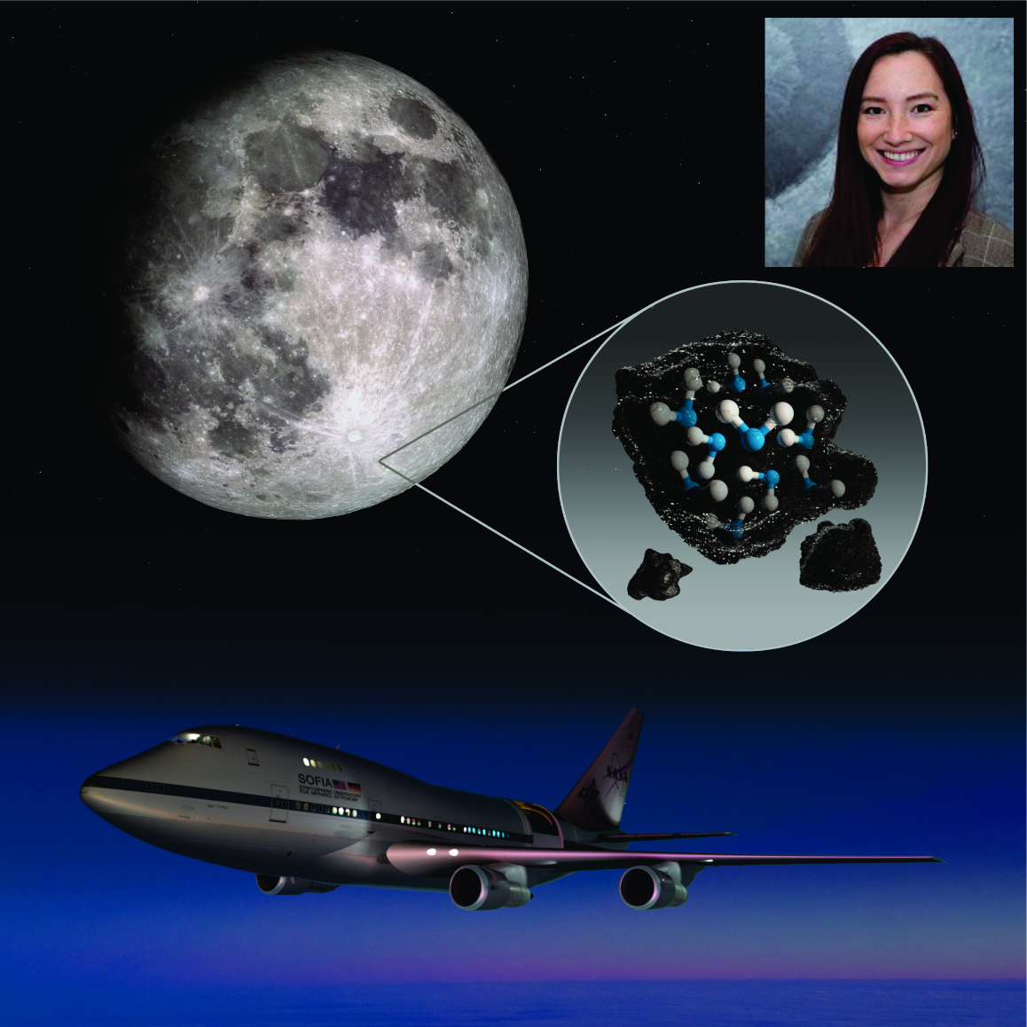 Dr Casey Honniball (who Obtained Her MS And PhD In HIGP), Alongside The Moon, NASA's SOFIA Airborne Observatory, And A Picture Showng How Water Molecules Occur On The Lunar Surface. Image Courtesy Of NASA